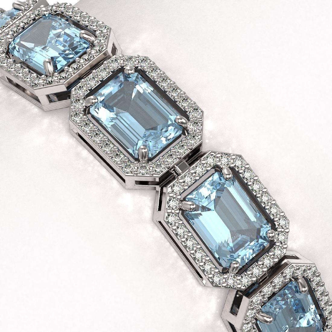24.51 CTW Aquamarine & Diamond Halo Bracelet 10K White - 3