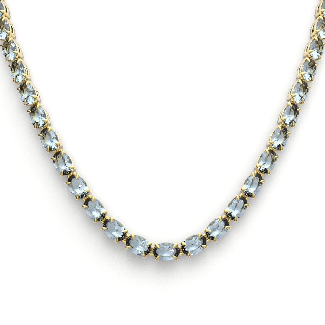 29 CTW Aquamarine Eternity Tennis Necklace 14K Yellow - 2