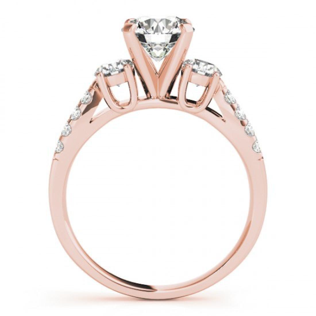 1.25 CTW Certified VS/SI Diamond 3 Stone Ring 14K Rose - 2