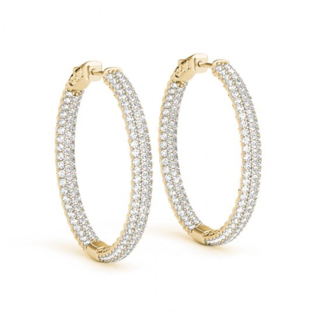 4.5 CTW Diamond VS/SI Certified 36 Mm Hoop Earrings 14K - 2