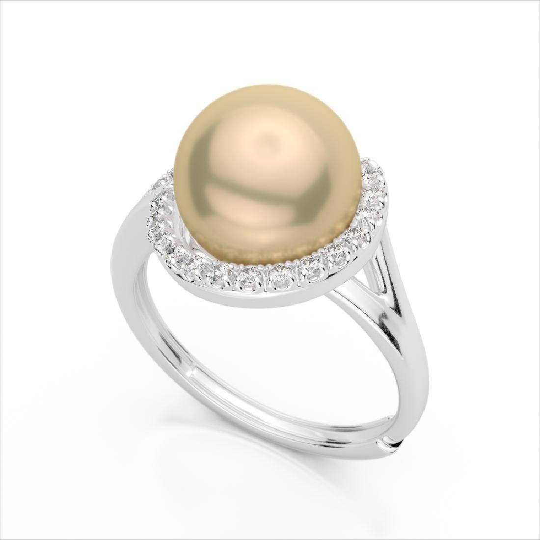 0.27 CTW VS/SI Diamond & Golden Pearl Designer Ring 18K - 2