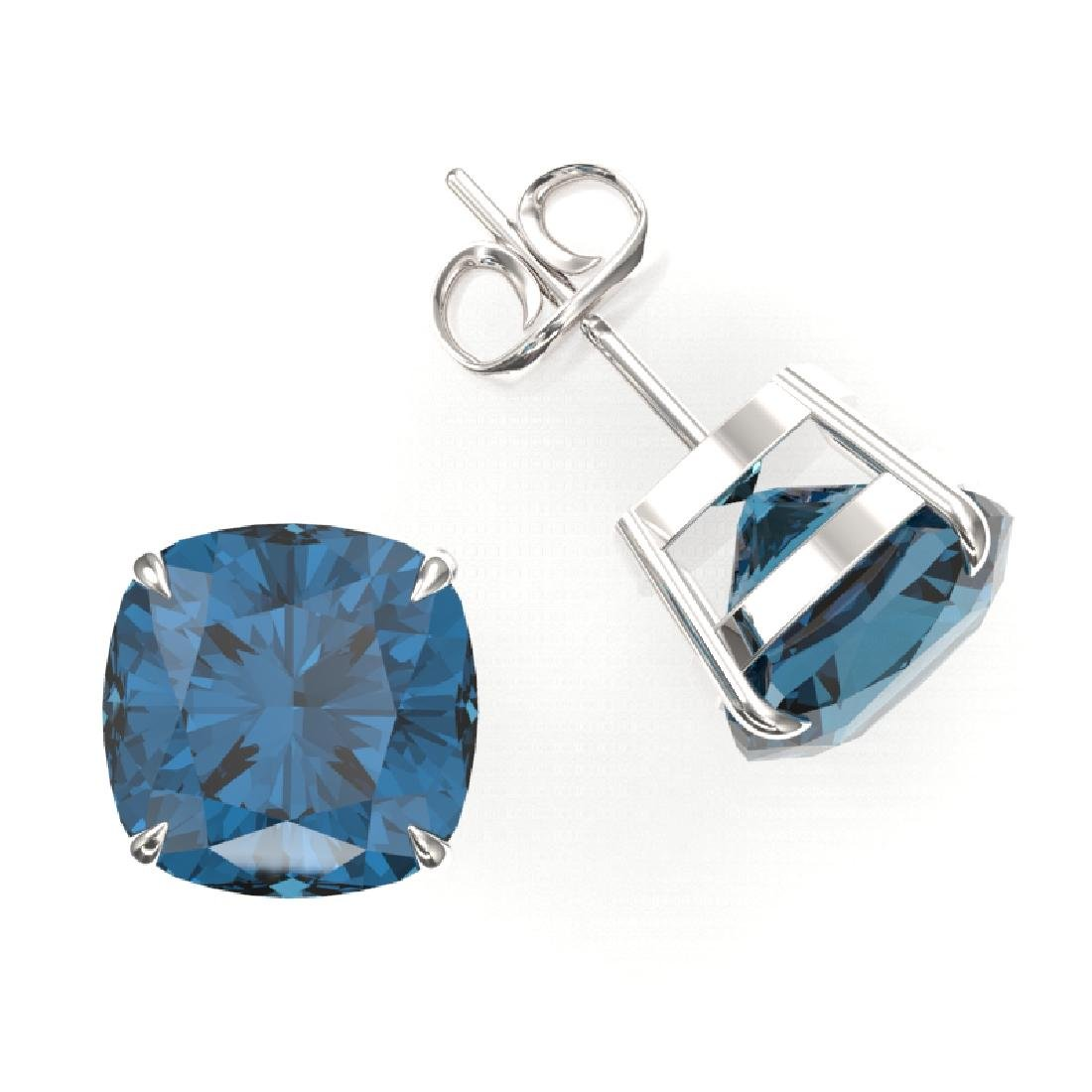 12 CTW Cushion Cut London Blue Topaz Designer Stud - 2