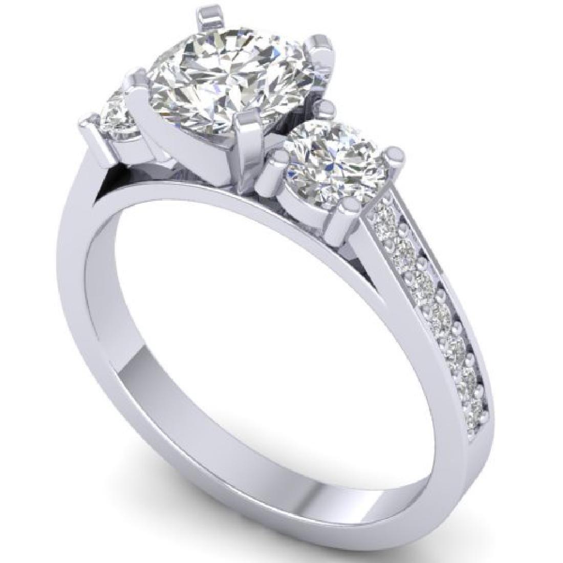 1.75 CTW Certified VS/SI Diamond 3 Stone Ring 18K White - 2