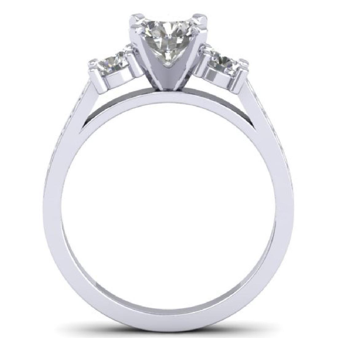1.75 CTW Certified VS/SI Diamond 3 Stone Ring 18K White - 3