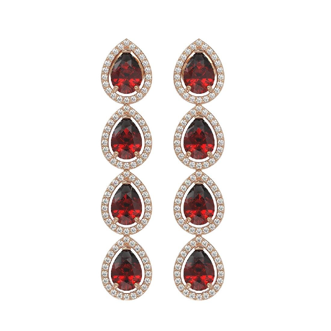 8.2 CTW Garnet & Diamond Halo Earrings 10K Rose Gold