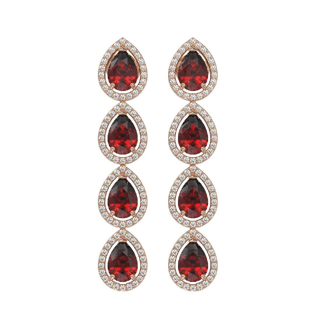 8.2 CTW Garnet & Diamond Halo Earrings 10K Rose Gold
