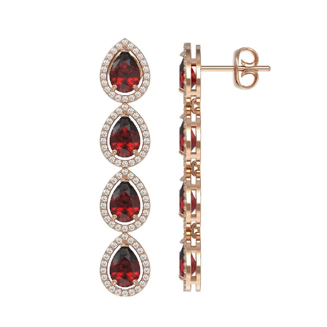 8.2 CTW Garnet & Diamond Halo Earrings 10K Rose Gold - 2