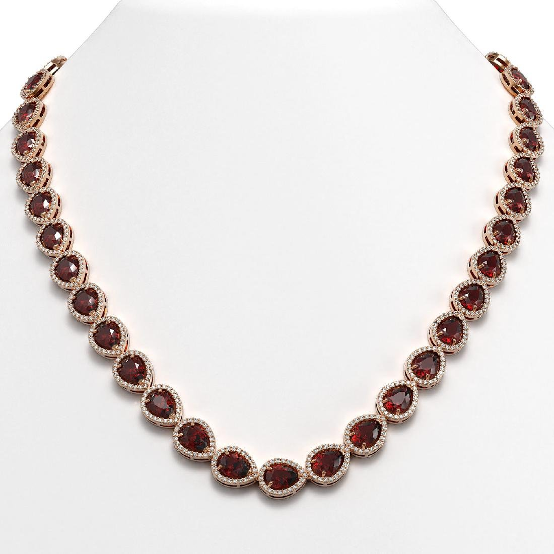 36.93 CTW Garnet & Diamond Halo Necklace 10K Rose Gold