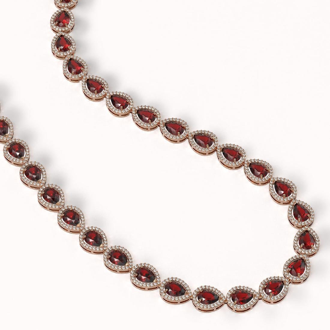 36.93 CTW Garnet & Diamond Halo Necklace 10K Rose Gold - 2