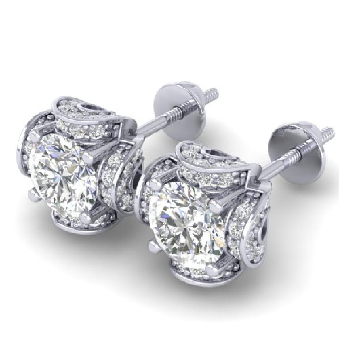 1.85 CTW Certified VS/SI Diamond Art Deco Stud Earrings - 2