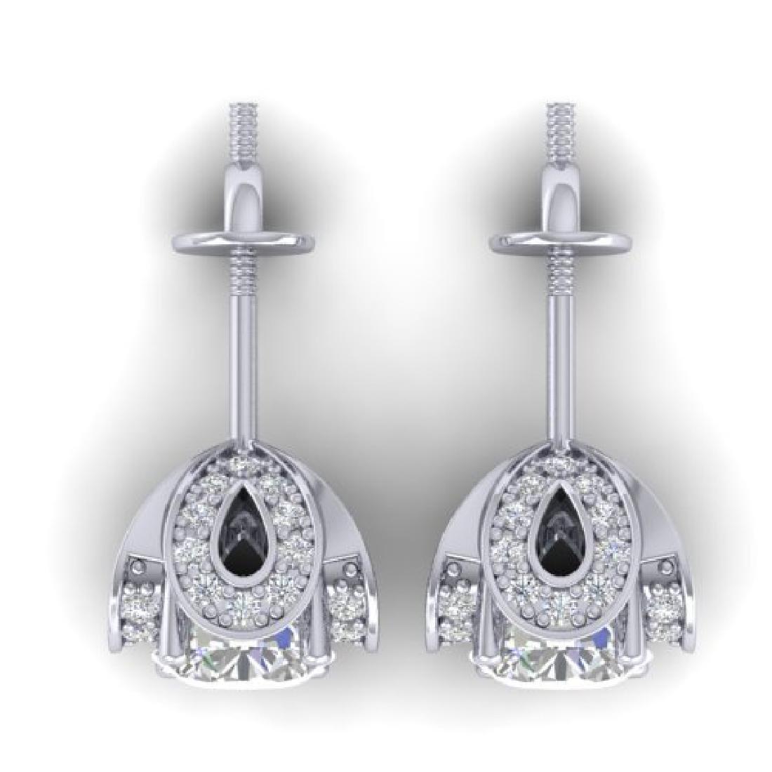 1.85 CTW Certified VS/SI Diamond Art Deco Stud Earrings - 3