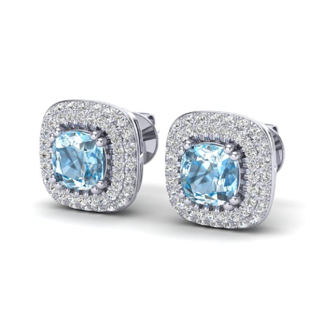 2.16 CTW Sky Blue Topaz & Micro VS/SI Diamond Earrings