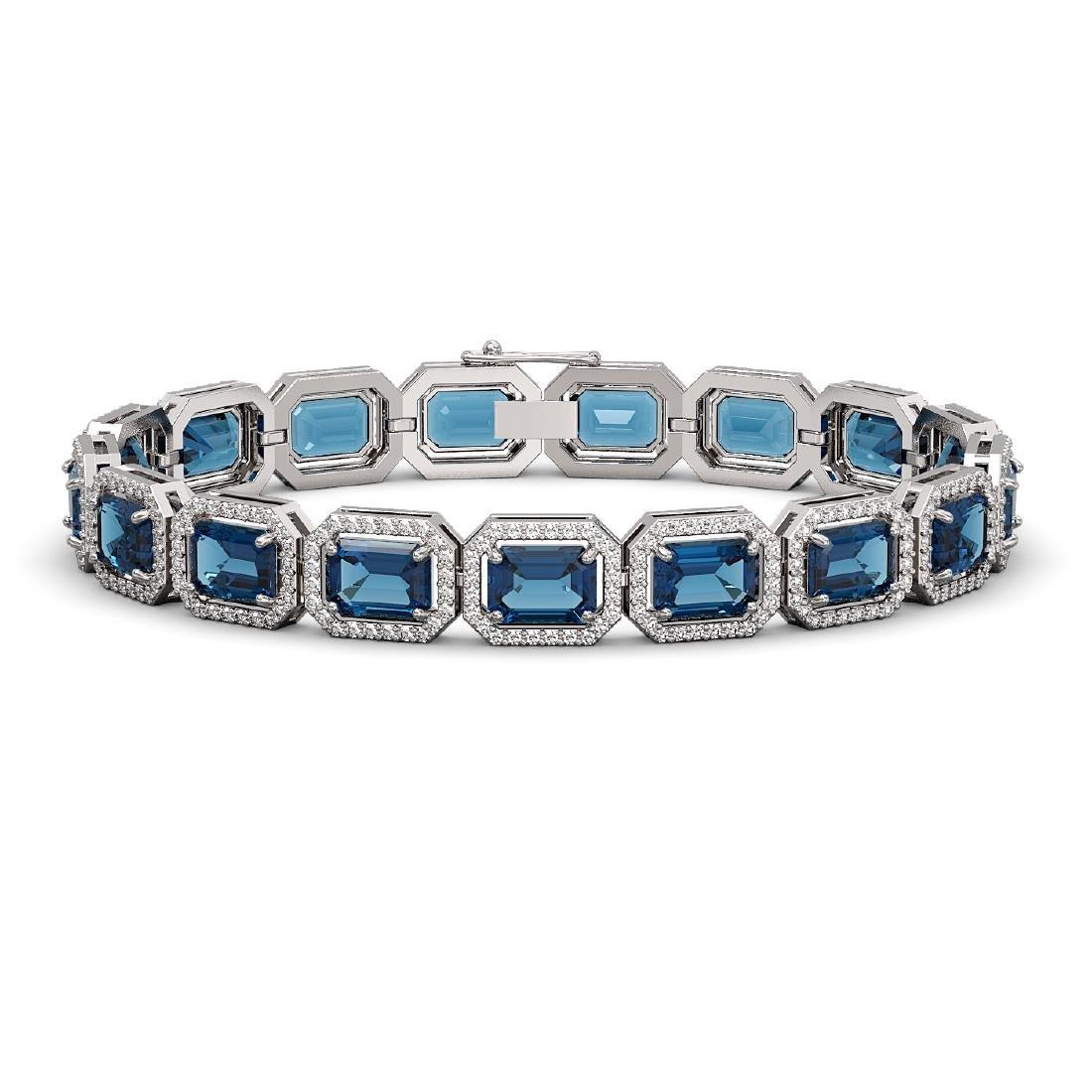 25.36 CTW London Topaz & Diamond Halo Bracelet 10K