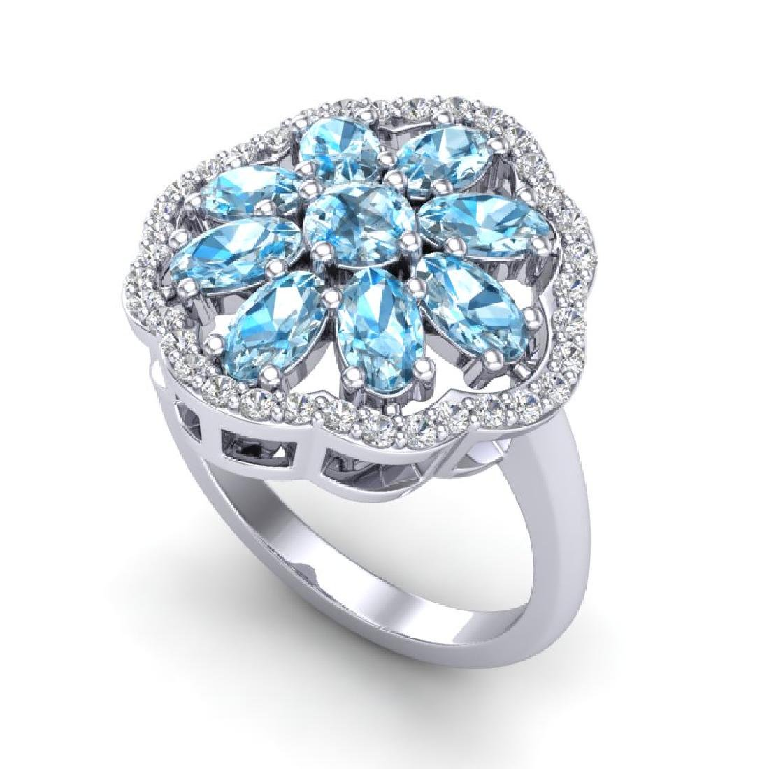 3 CTW Sky Blue Topaz & VS/SI Diamond Cluster Halo Ring