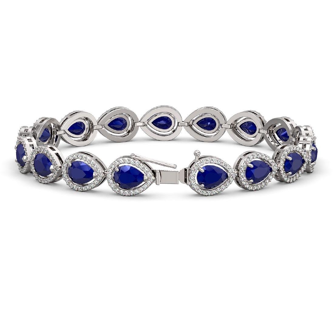 21.69 CTW Sapphire & Diamond Halo Bracelet 10K White - 2