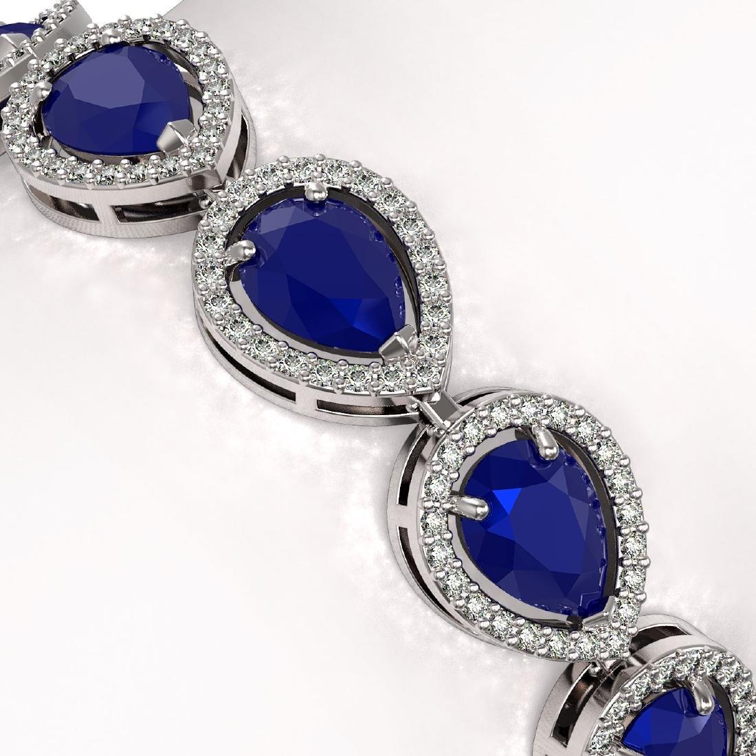 21.69 CTW Sapphire & Diamond Halo Bracelet 10K White - 3