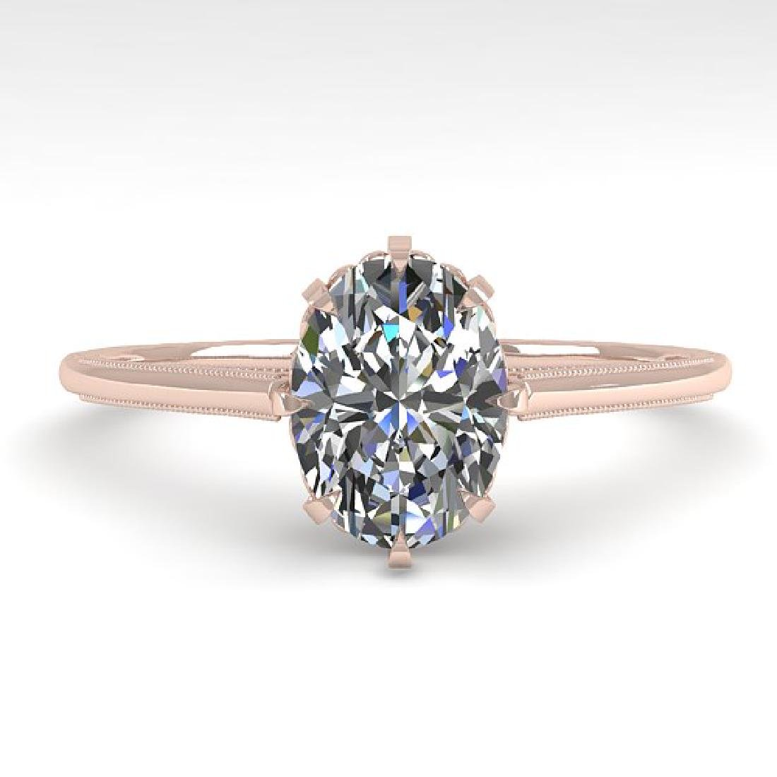 1.0 CTW VS/SI Oval Diamond Solitaire Ring 14K Rose Gold
