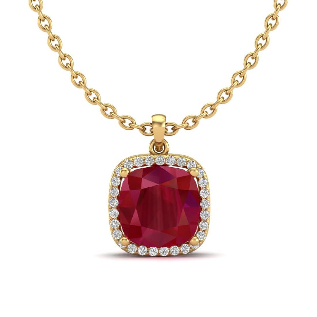 6 CTW Ruby & Micro Pave Halo VS/SI Diamond Necklace - 2