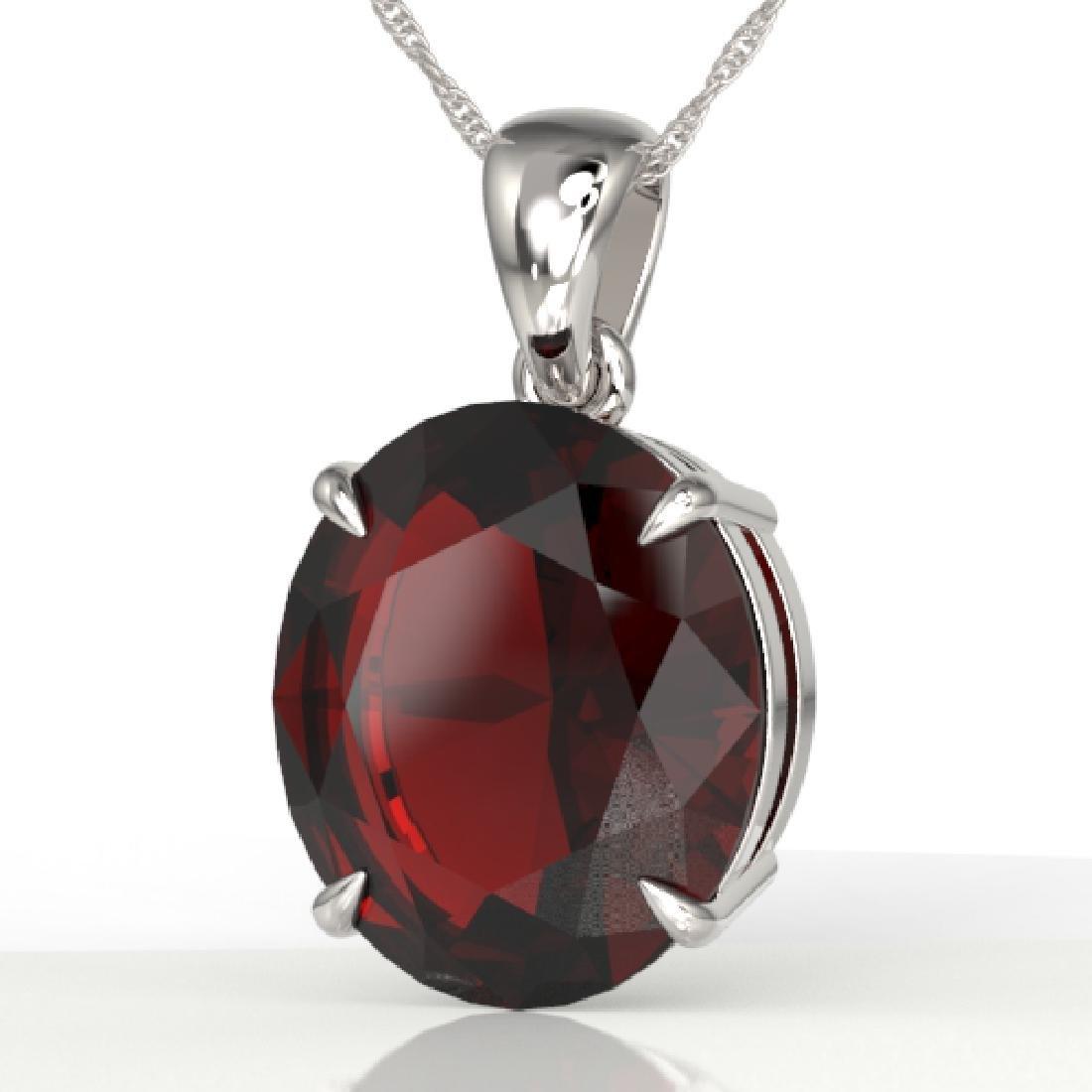 9 CTW Garnet Designer Solitaire Necklace 18K White Gold