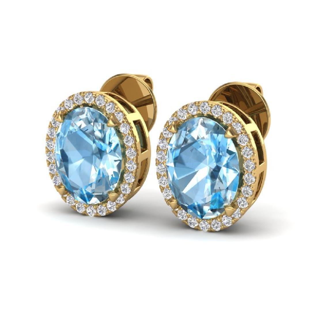 5.50 CTW Sky Blue Topaz & Micro VS/SI Diamond Halo