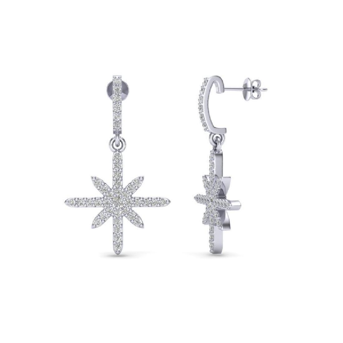 0.75 CTW Micro Pave VS/SI Diamond Earrings 18K White - 2