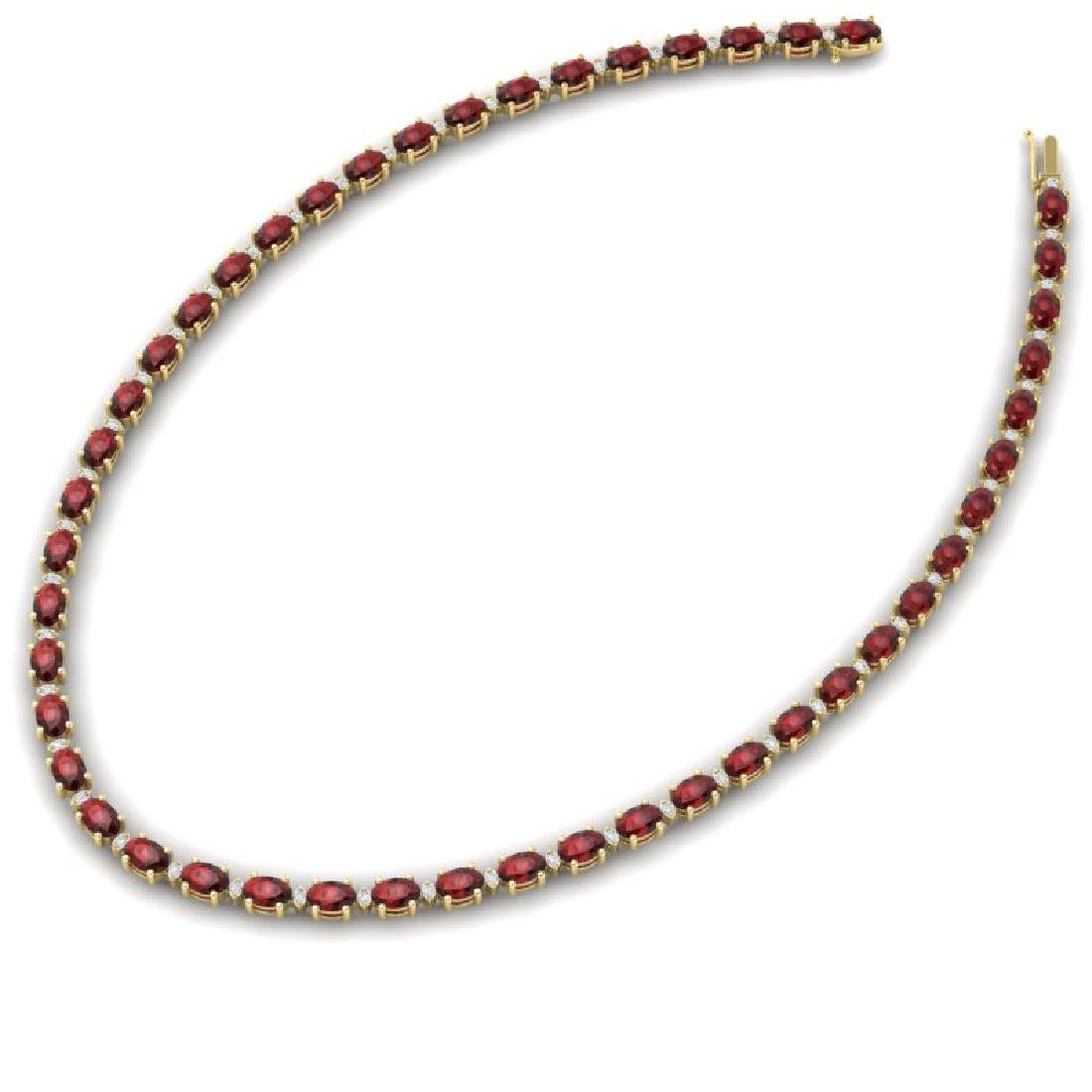 33 CTW Garnet & VS/SI Diamond Eternity Tennis Necklace - 2