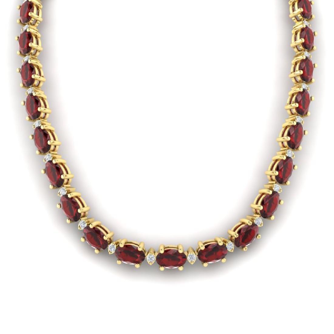 33 CTW Garnet & VS/SI Diamond Eternity Tennis Necklace - 3
