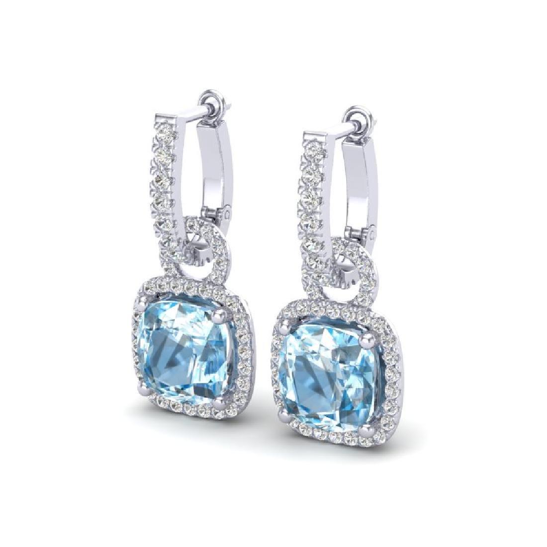7 CTW Sky Blue Topaz & Micro Pave VS/SI Diamond