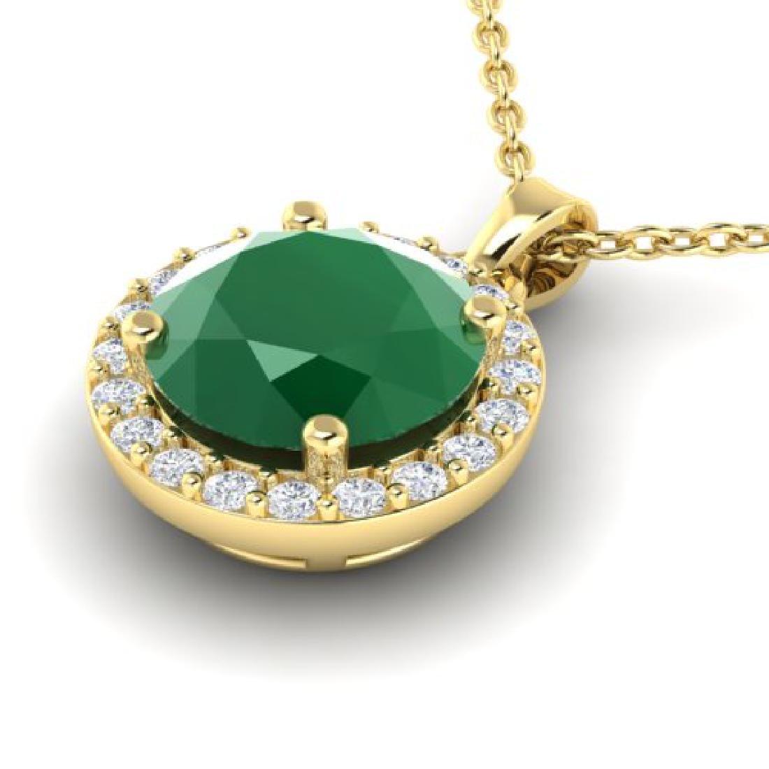 2 CTW Emerald & Halo VS/SI Diamond Micro Pave Necklace