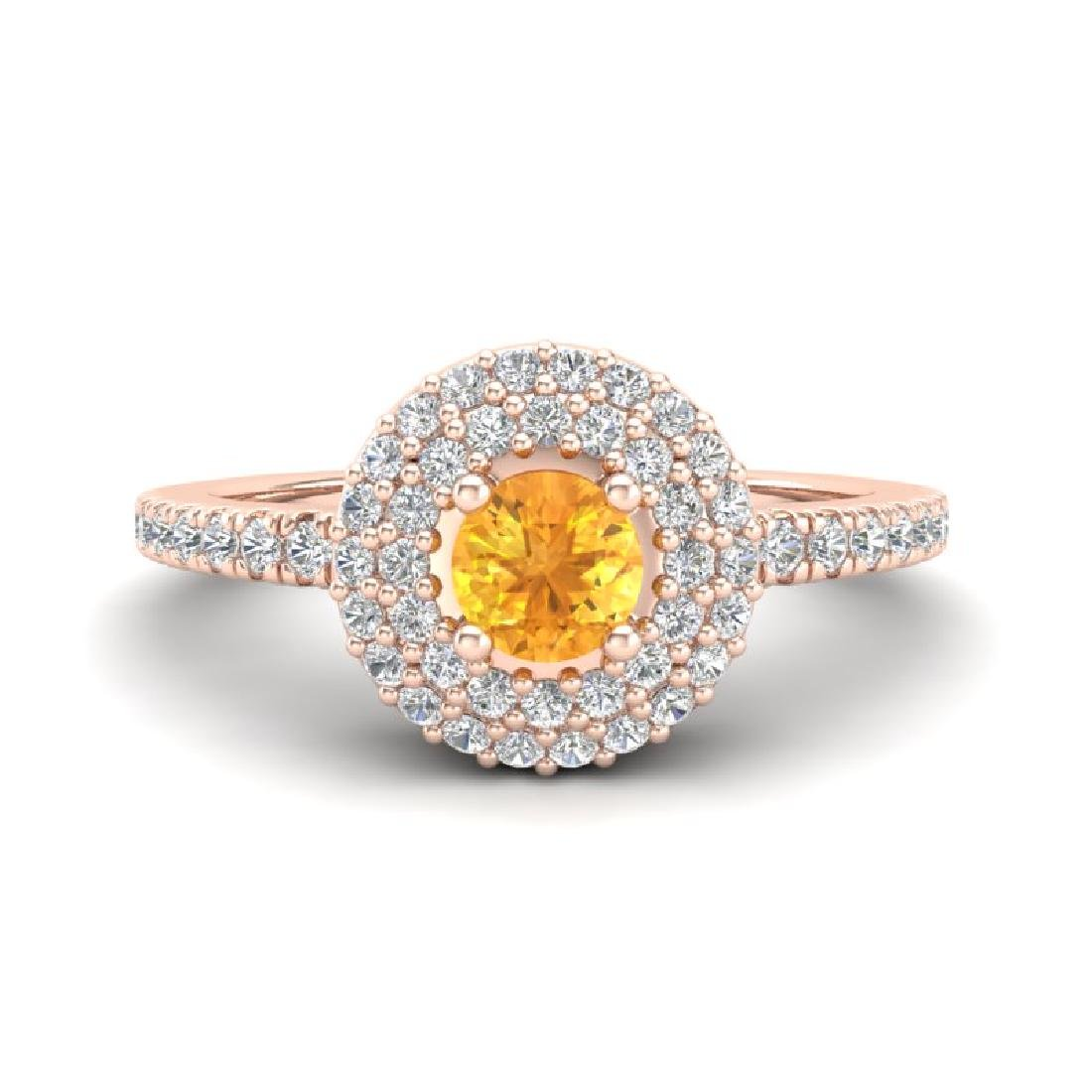 0.70 CTW Citrine & Micro Pave VS/SI Diamond Ring 14K