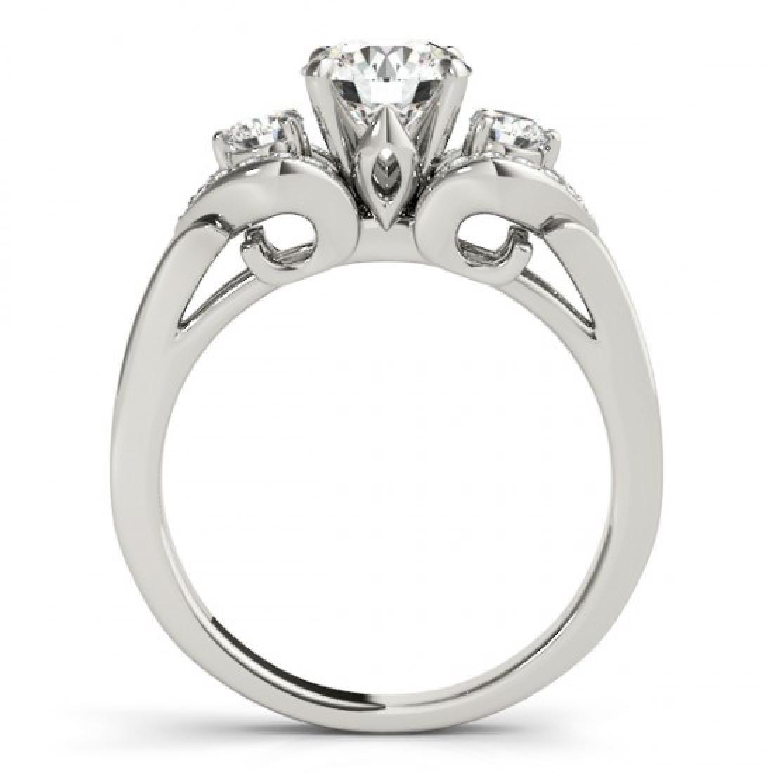 1.2 CTW Certified VS/SI Diamond 3 Stone Ring 14K White - 2