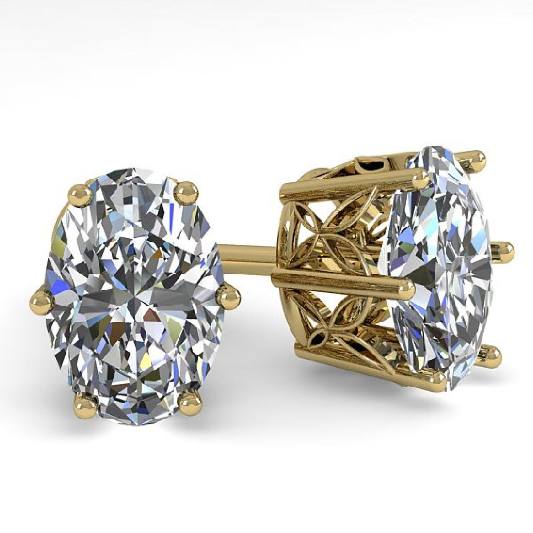 1.0 CTW VS/SI Oval Diamond Stud Art Deco Earrings 14K