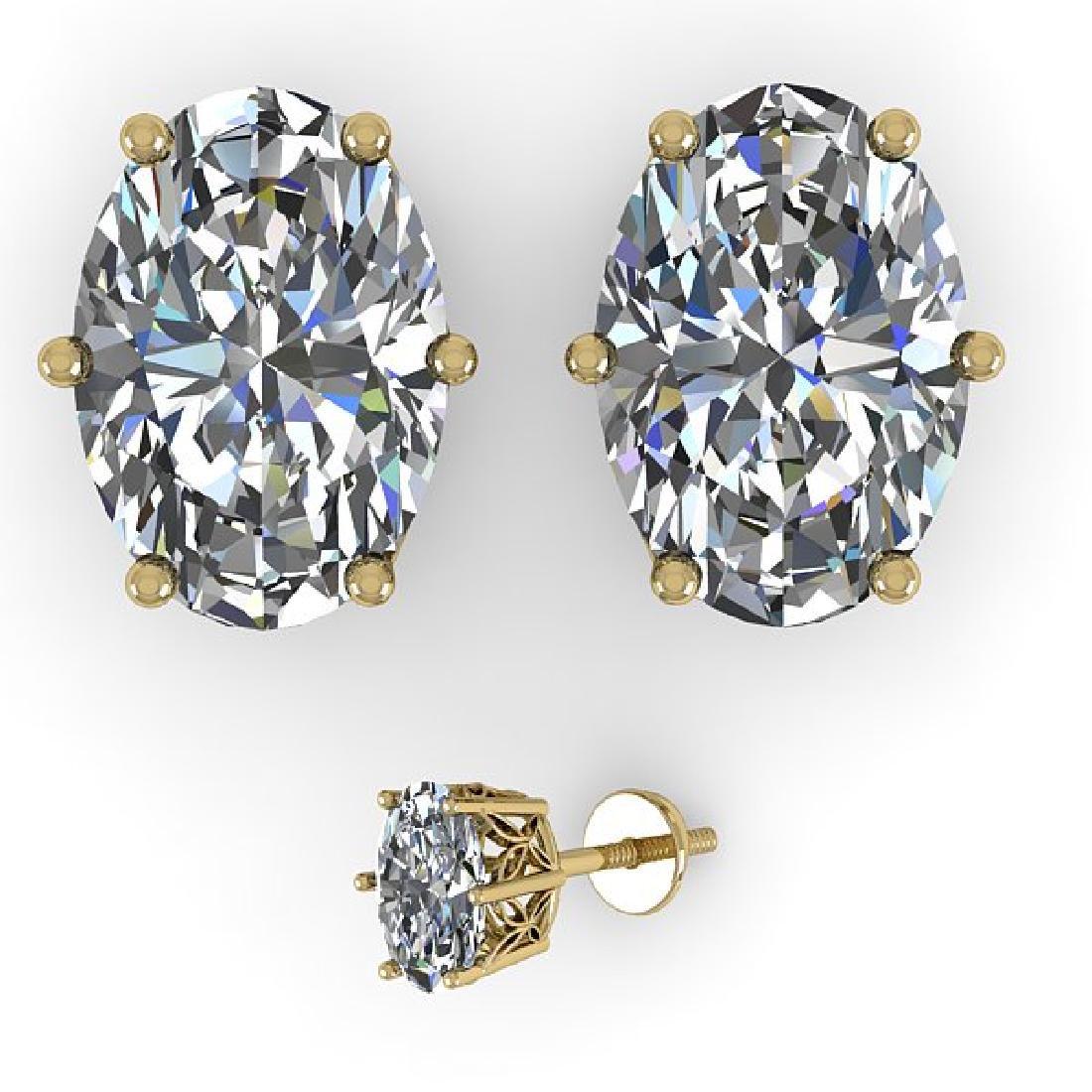 1.0 CTW VS/SI Oval Diamond Stud Art Deco Earrings 14K - 2