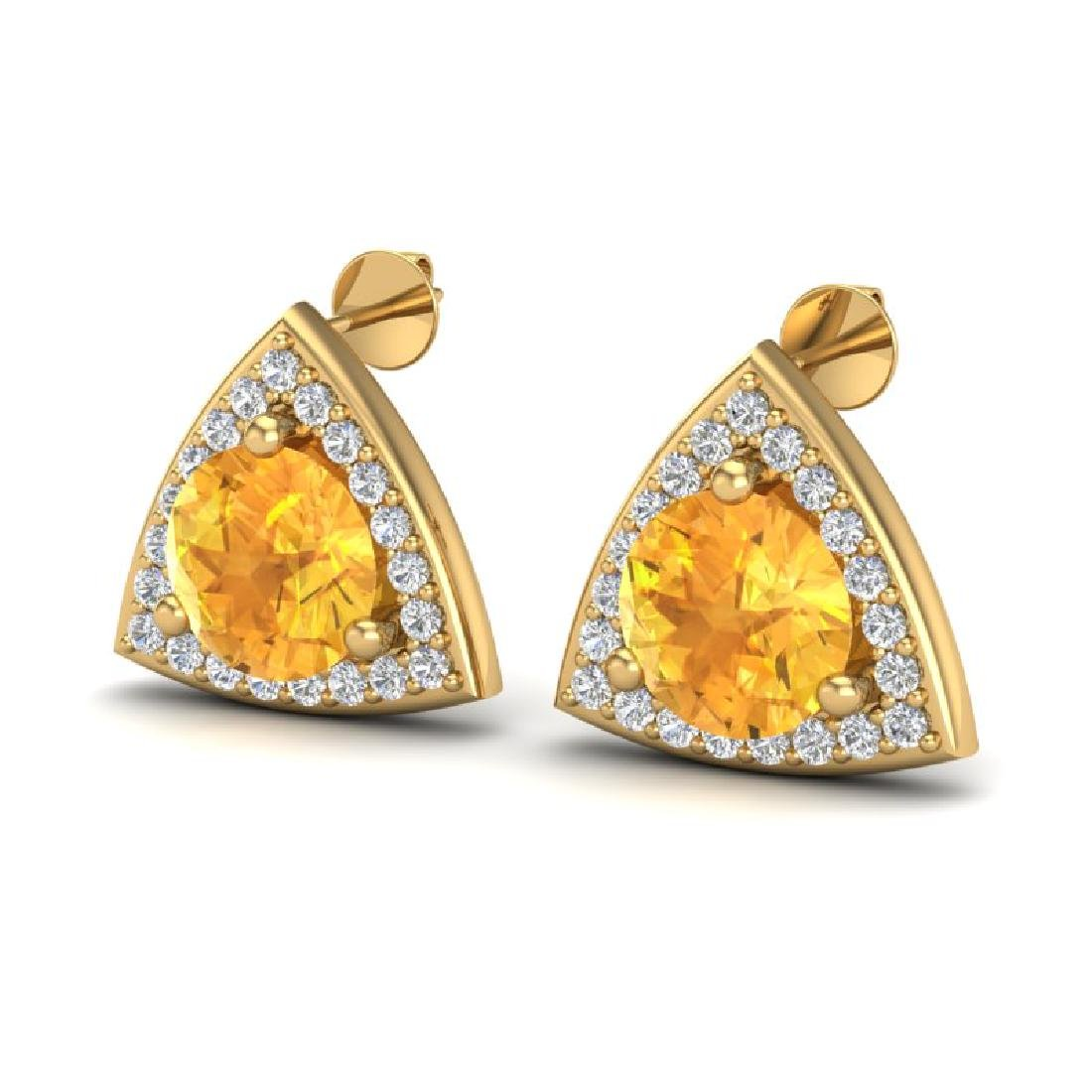 3 CTW Citrine & Micro Pave Halo VS/SI Diamond Stud