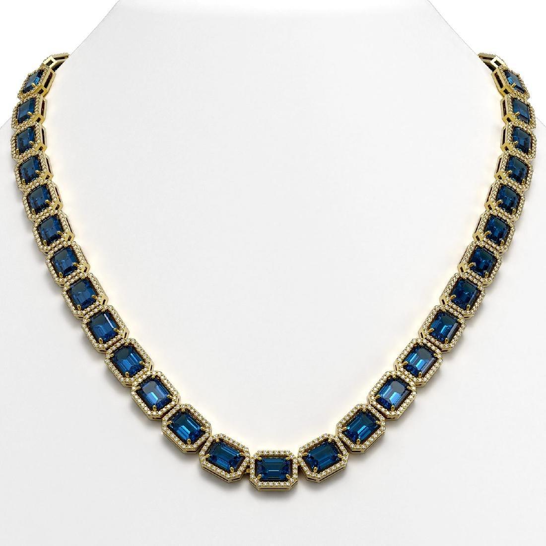 56.69 CTW London Topaz & Diamond Halo Necklace 10K