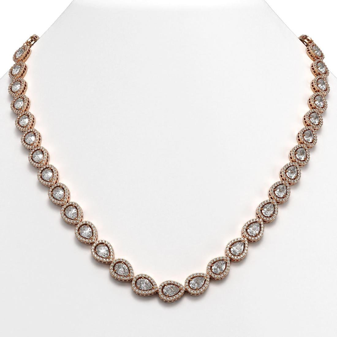 28.74 CTW Pear Diamond Designer Necklace 18K Rose Gold