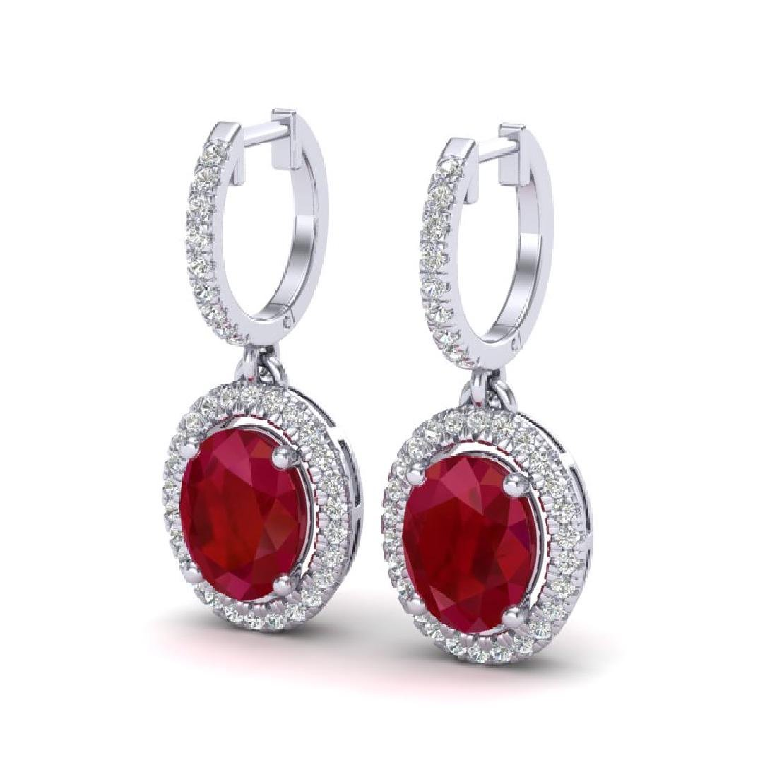 4.25 CTW Ruby & Micro Pave VS/SI Diamond Earrings