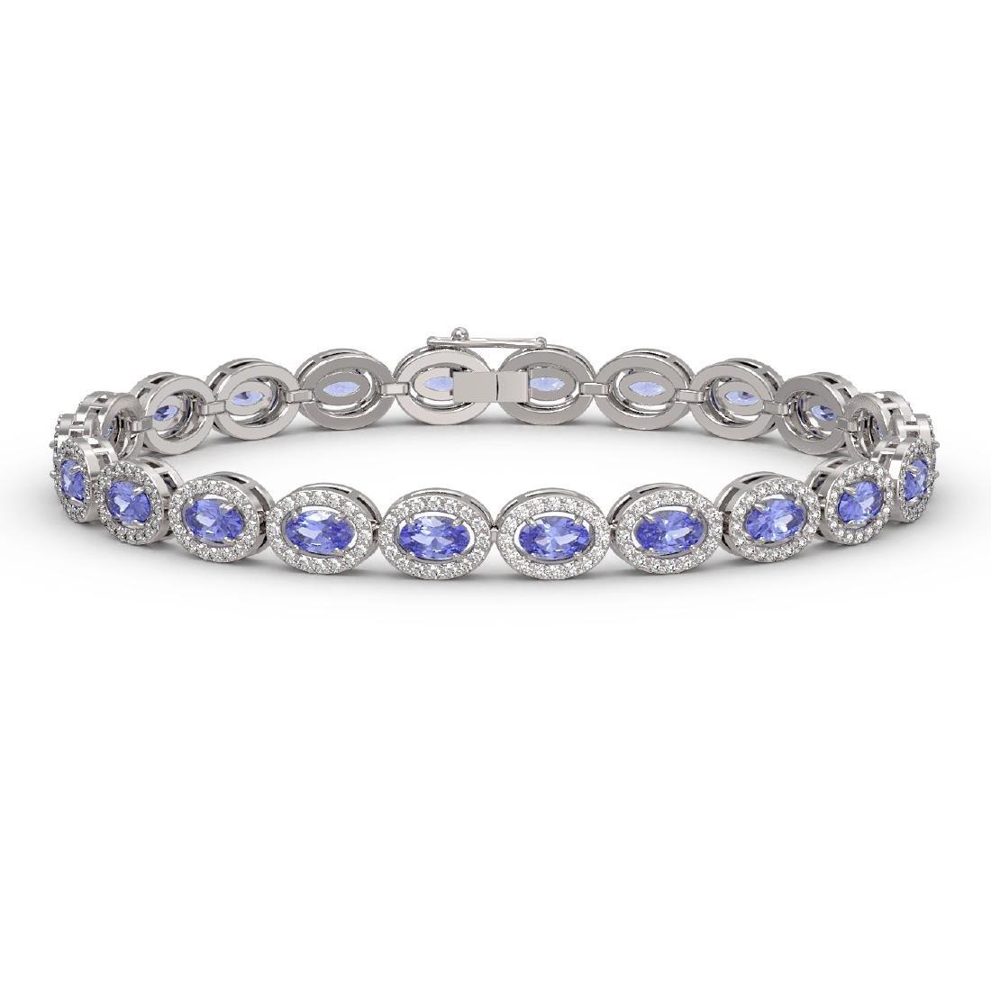 10.04 CTW Tanzanite & Diamond Halo Bracelet 10K White