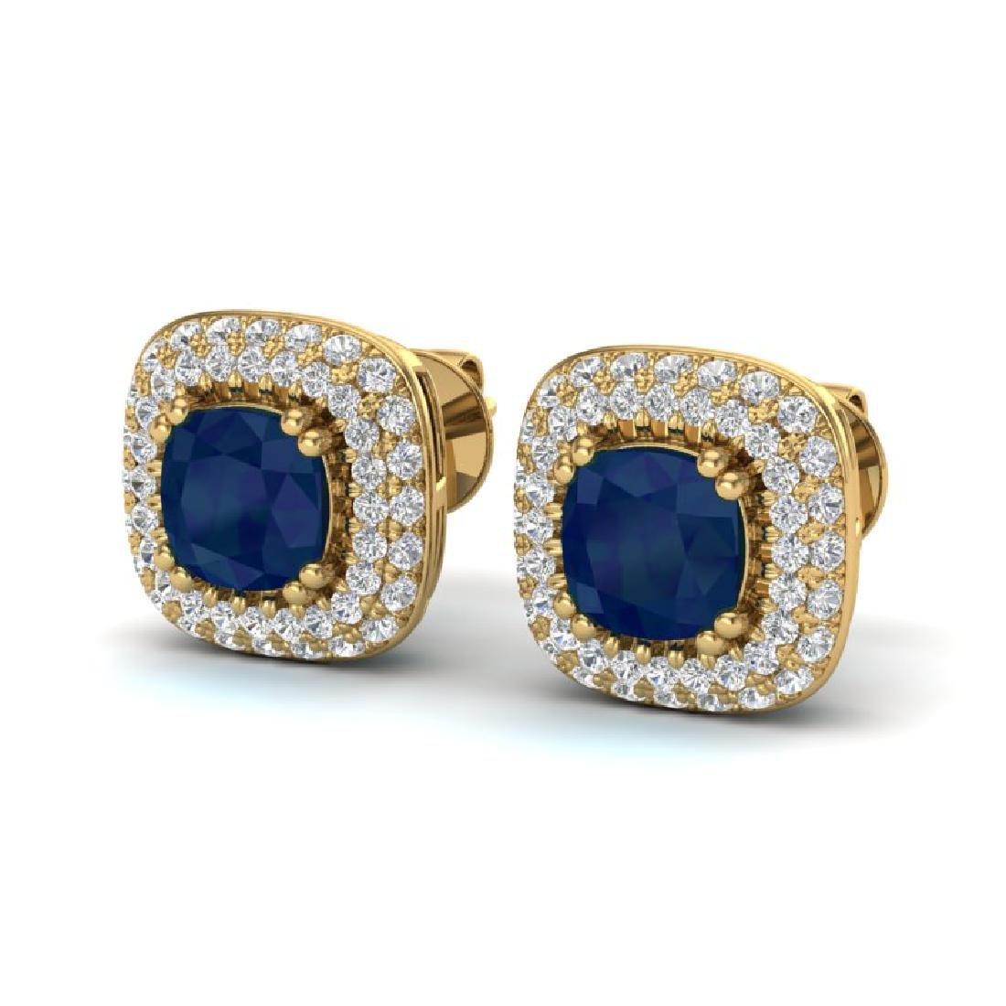 2.16 CTW Sapphire & Micro VS/SI Diamond Earrings Halo