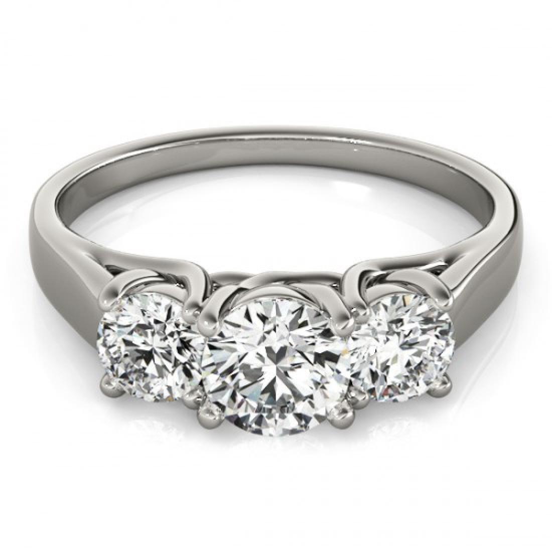 1.3 CTW Certified VS/SI Diamond 3 Stone Ring 14K White