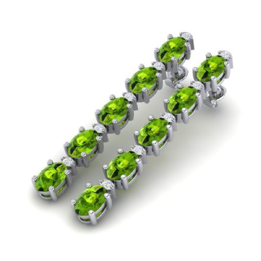6 CTW Peridot & VS/SI Diamond Tennis Earrings White 10K