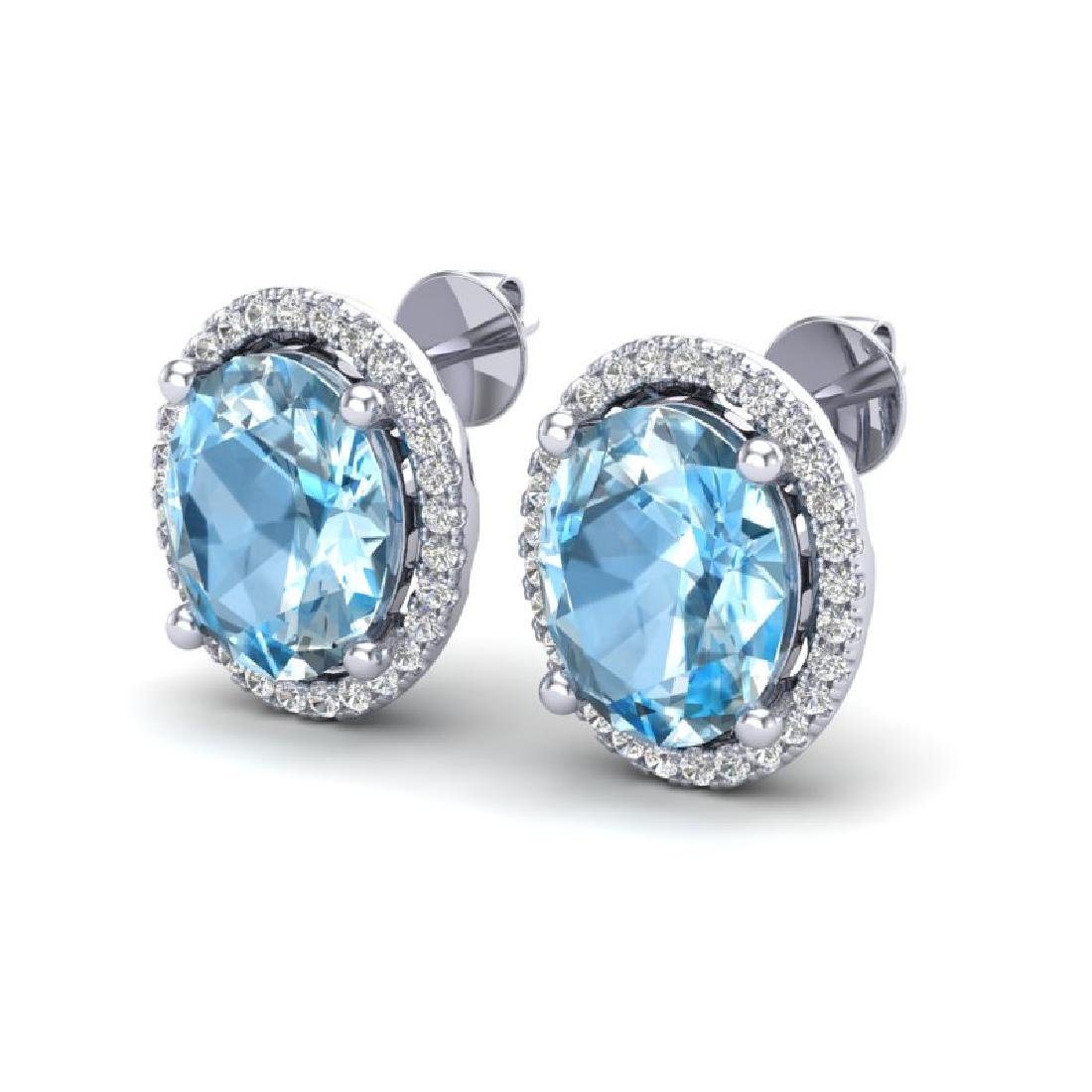 6 CTW Sky Blue Topaz & Micro VS/SI Diamond Earrings