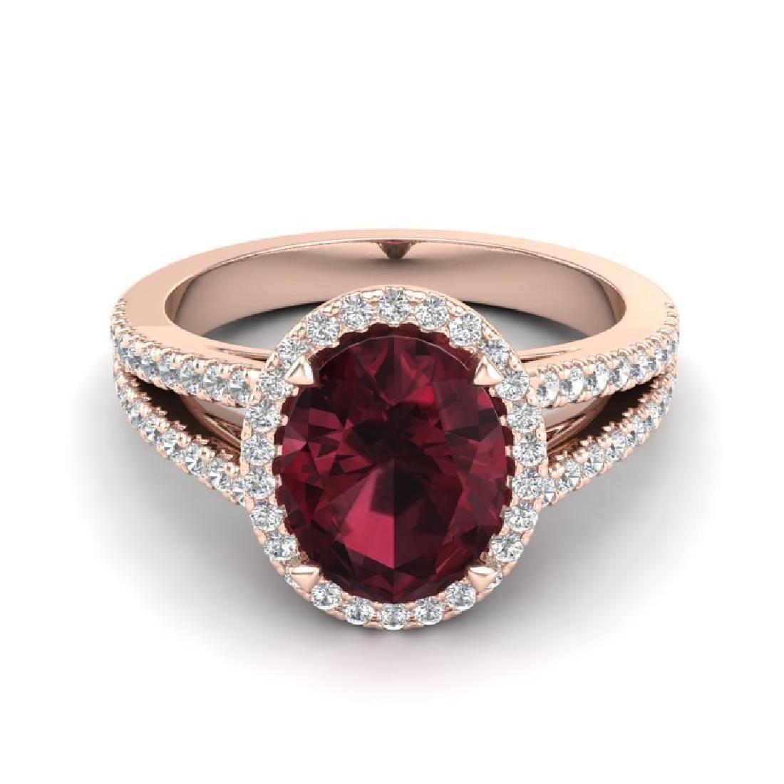 3 CTW Garnet & Micro VS/SI Diamond Halo Ring 14K Rose