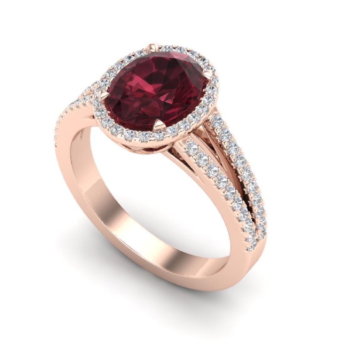 3 CTW Garnet & Micro VS/SI Diamond Halo Ring 14K Rose - 2