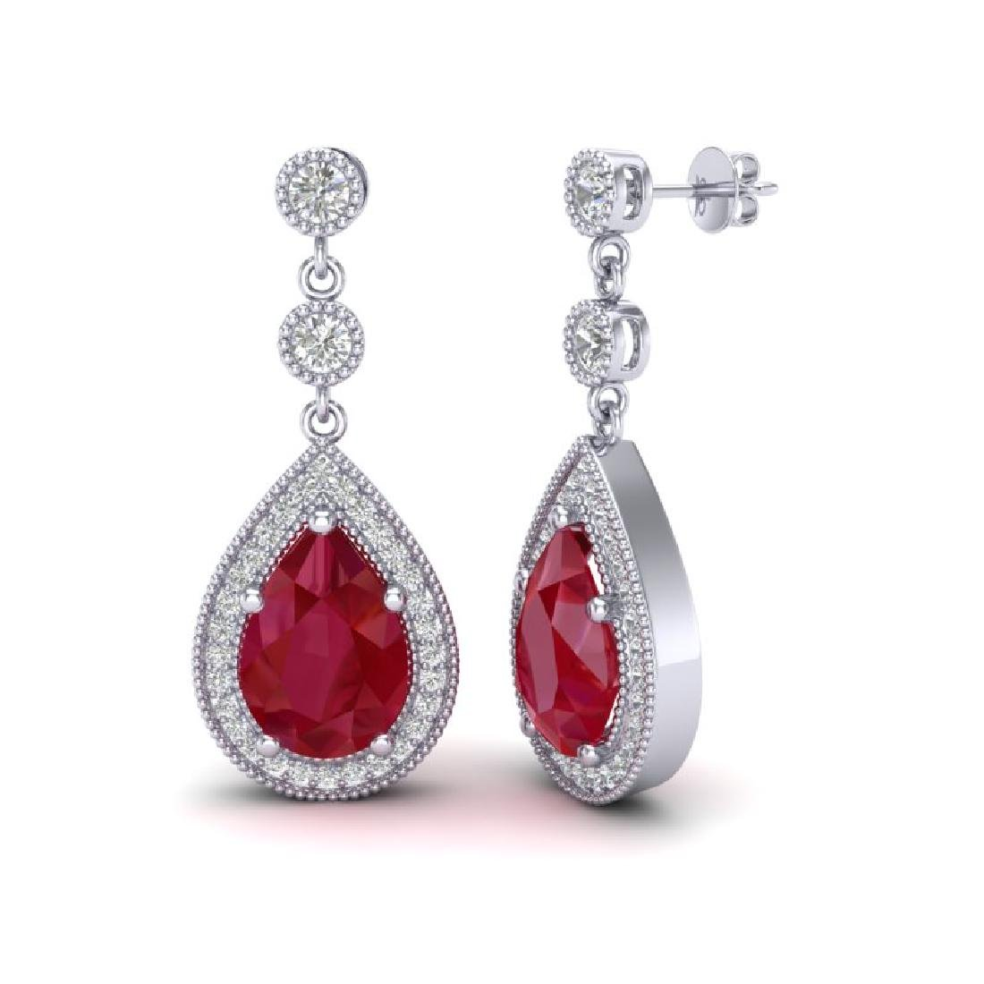 6 CTW Ruby & Micro Pave VS/SI Diamond Earrings Designer - 2