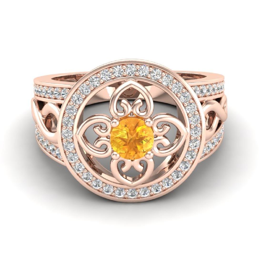 1 CTW VS/SI Diamond & Citrine Micro Pave Designer Ring