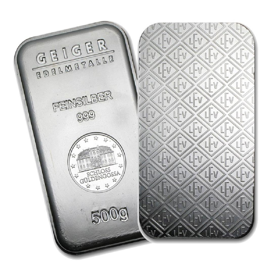 One piece 500 gram 0.999 Fine Silver Bar Geiger
