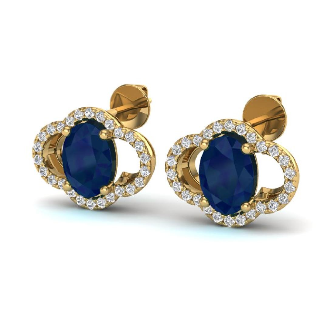 4 CTW Sapphire & Micro Pave VS/SI Diamond Earrings 10K