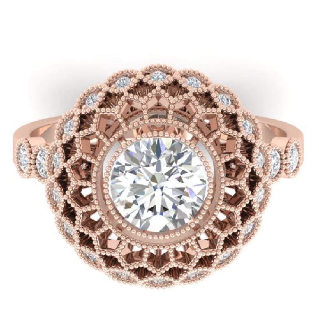 1.5 CTW Certified VS/SI Diamond Art Deco Ring 18K Rose