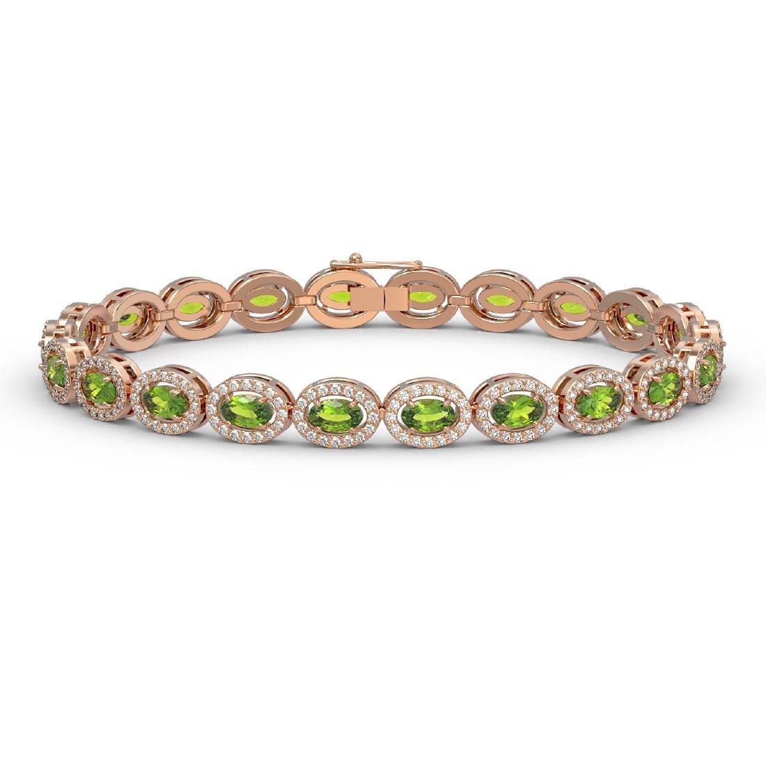 10.67 CTW Peridot & Diamond Halo Bracelet 10K Rose Gold
